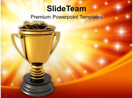 Golden Trophy Full Of Money Success Powerpoint Templates ...