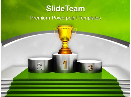 Golden Trophy On Winner Podium Powerpoint Templates Ppt
