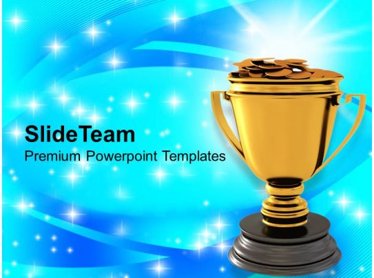 golden trophy with dollar coins reward winner powerpoint