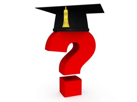 Graduation Cap With A Question Mark Education Stock Photo
