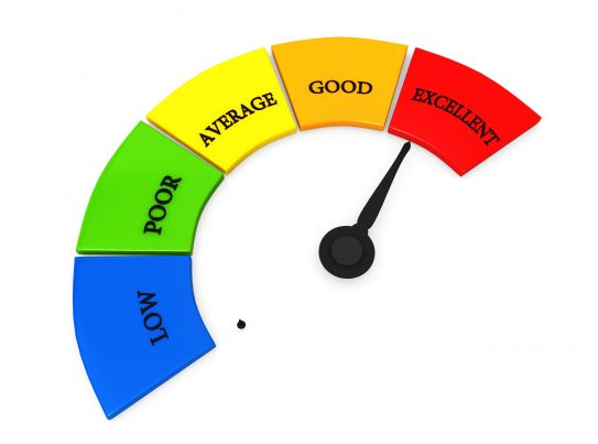 Graphic Of Meter With Excellent Ratings Stock Photo