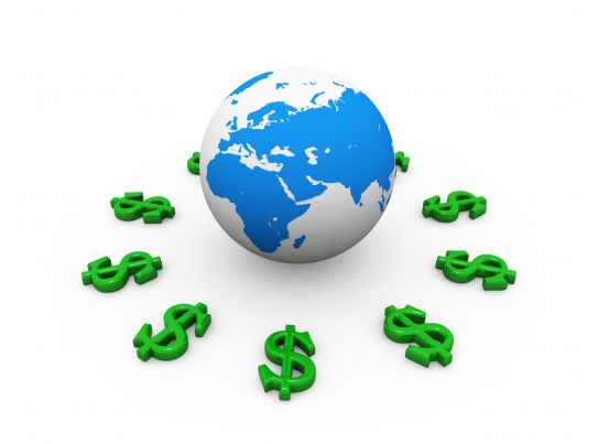 green dollar signs around globe for international economy