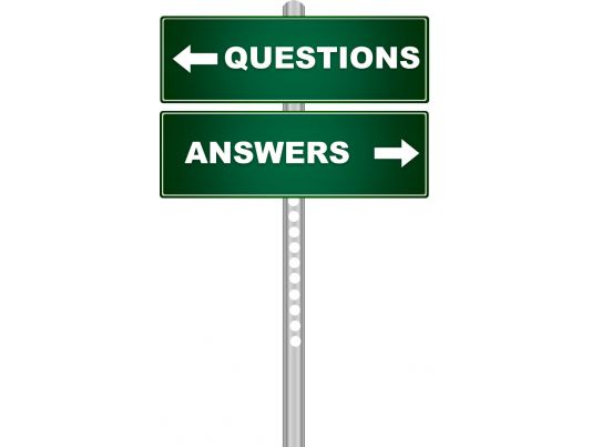 Green signpost with question and answer stock photo for Powerpoint questions and answers template