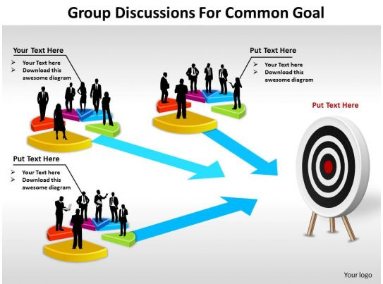 Group Discussions For Common Goal Shown By Bullseye
