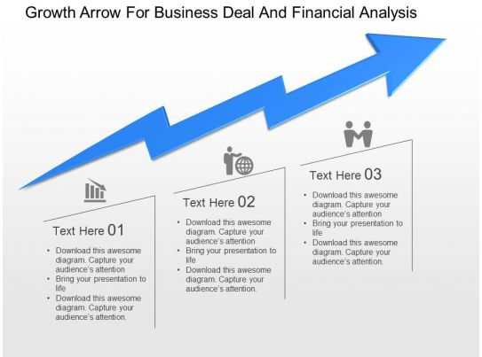 growth arrow for business deal and financial analysis