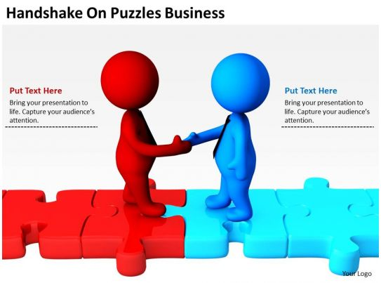 handshake on puzzles business ppt graphics icons
