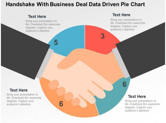 handshake with business deal data driven pie chart