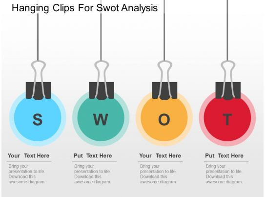 Hanging Clips For Swot Analysis Flat Powerpoint Design