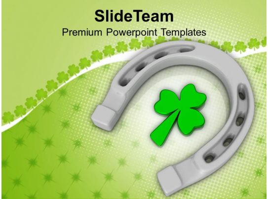 Happy St Patricks Day Horse Shoe With Clover Leaf Templates Ppt