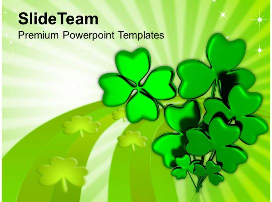 happy st patricks day shamrock with message templates ppt