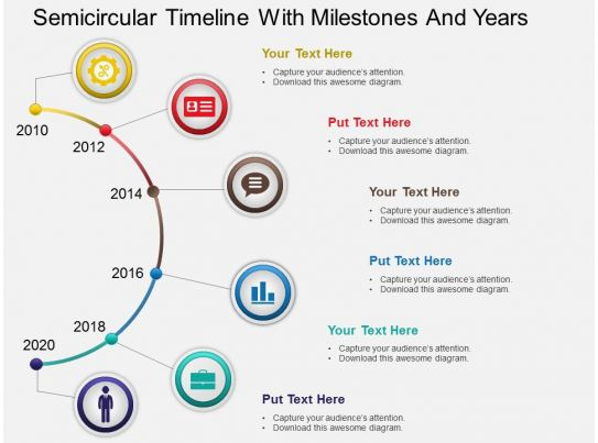 ms powerpoint timeline template - hb semicircular timeline with milestones and years