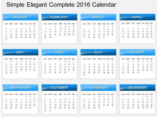 hc simple elegant complete 2016 calendar powerpoint template, Modern powerpoint