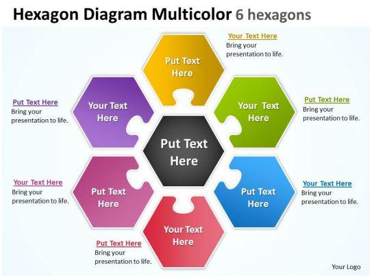 Hexagon Diagram Multicolor 6 Hexagons Powerpoint Templates
