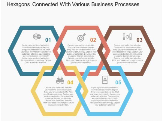 Hexagons connected with various business processes flat for Business process catalogue template