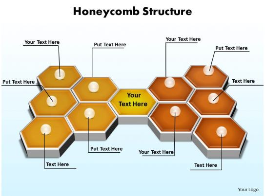 Honeycomb Structure 3d On Flat Surface Powerpoint Diagram