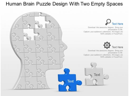 Human Brain Puzzle Design With Two Empty Spaces Powerpoint ...