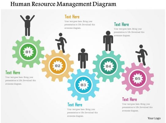 hr ppt templates free download - human resource management diagram flat powerpoint design