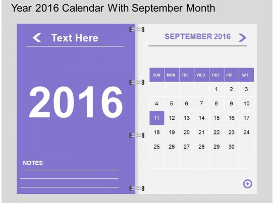 Calendar Art For Powerpoint : Hy year calendar with september month flat powerpoint