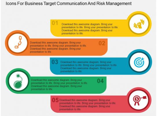 Icons For Business Target Communication And Risk