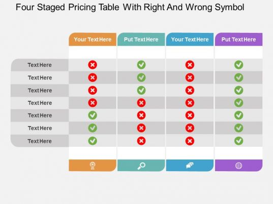 id four staged pricing table with right and wrong symbol flat powerpoint design. Black Bedroom Furniture Sets. Home Design Ideas