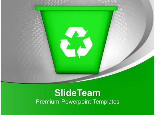 illustration of recycling symbol with bin powerpoint