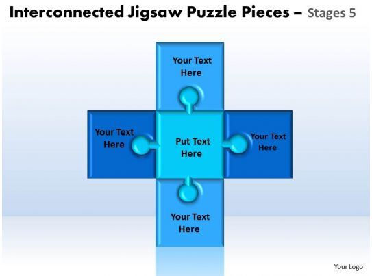 Interconnected Jigsaw Puzzle Pieces Stages 5 Powerpoint Templates