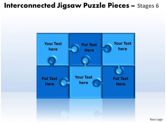 Interconnected Jigsaw Puzzle Pieces Stages 6 Powerpoint Templates Slide06