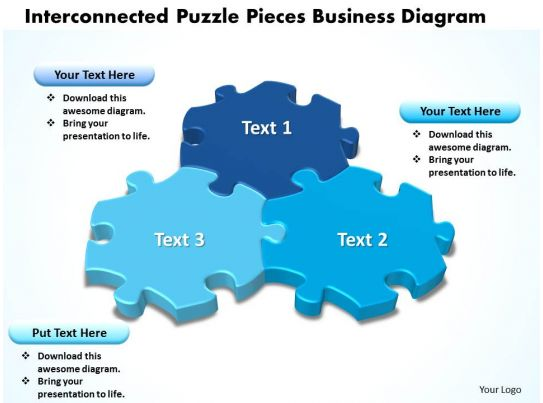 interconnected puzzle pieces business diagram powerpoint templates, Modern powerpoint