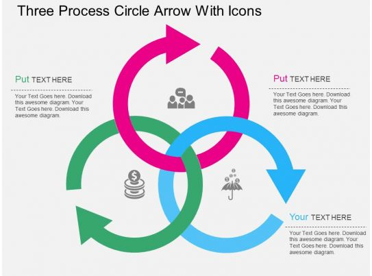 is three process circle arrow with icons flat powerpoint