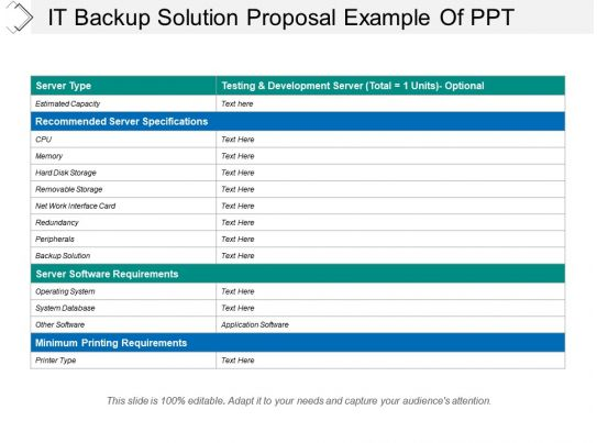 It Backup Solution Proposal Example Of Ppt Templates Powerpoint