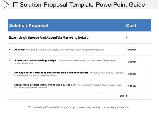 It Solution Proposal Template Powerpoint Guide Presentation