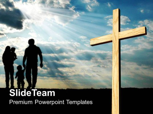 Jesus Christ Cross Powerpoint Templates Light Shining On Religion