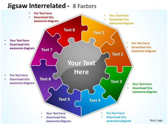 Jigsaw Interrelated 8 Factors Powerpoint Templates Graphics Slides 0712