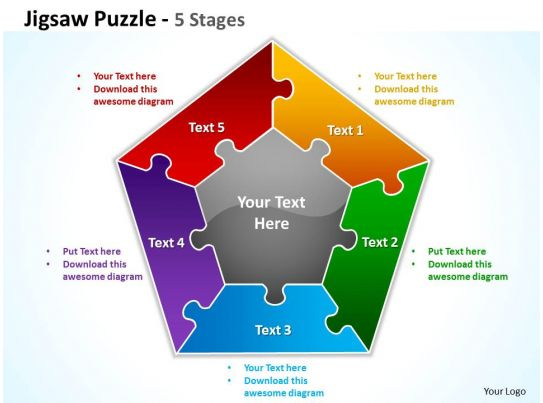 jigsaw puzzle 5 stages powerpoint templates graphics slides 0712, Modern powerpoint