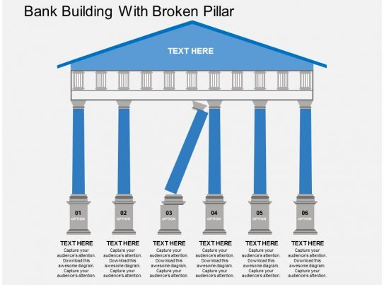 Kb Bank Building With Broken Pillar Flat Powerpoint Design