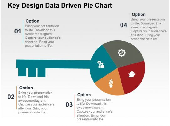 Key Design Data Driven Pie Chart Powerpoint Slides