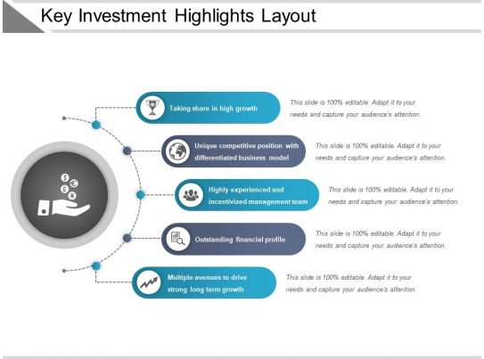 Key Investment Highlights Layout Example Of Ppt