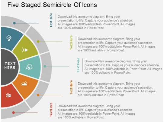 Ku Five Staged Semicircle Of Icons Flat Powerpoint Design