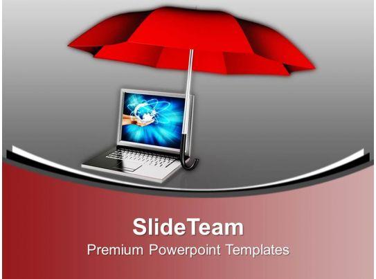 Laptop Under Umbrella Security Powerpoint Templates Ppt