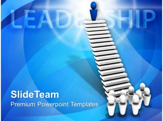 leader on top of stairs leadership powerpoint templates