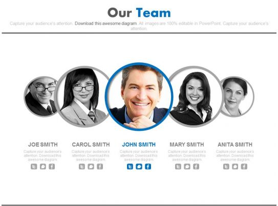 Leadership With Team Members For Business Powerpoint