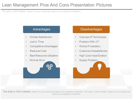 Lean management pros and cons presentation pictures for Pros and cons matrix template