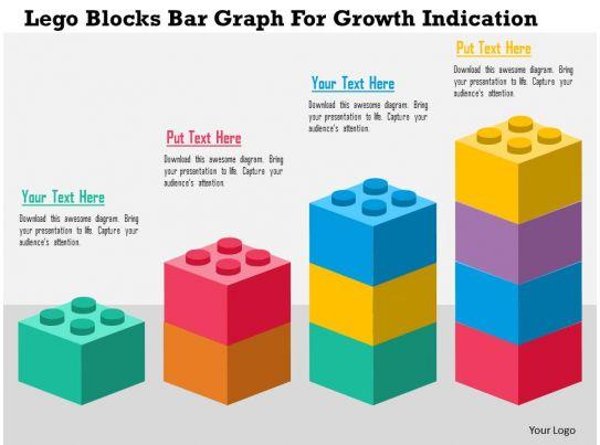 Lego Blocks Bar Graph For Growth Indication Flat