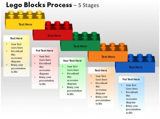 Lego Blocks Process 5 Stages Powerpoint Slides