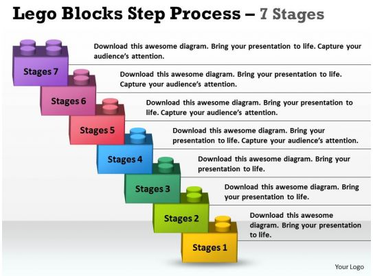 lego blocks step process 7 stages