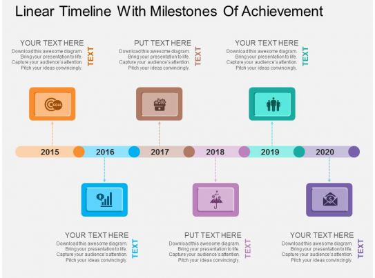 Linear Timeline With Milestones Of Achievement Flat