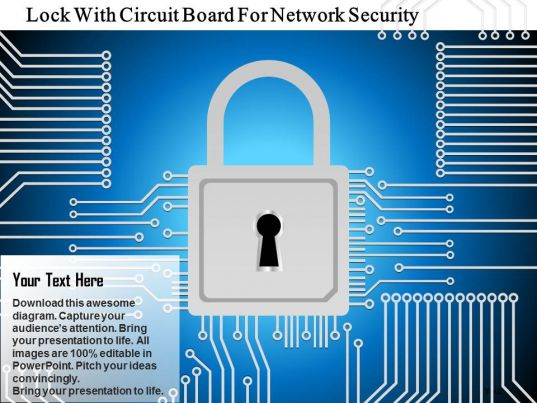 lock with circuit board for network security ppt slides