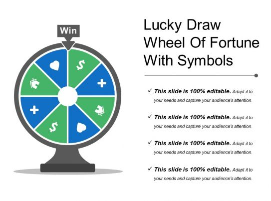 Lucky Draw Wheel Of Fortune With Symbols Powerpoint Presentation