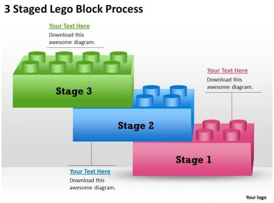 management consultants 3 staged lego block process powerpoint