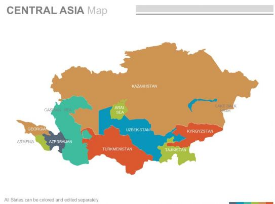 Maps Of The Central Asia Region Continent Countries In
